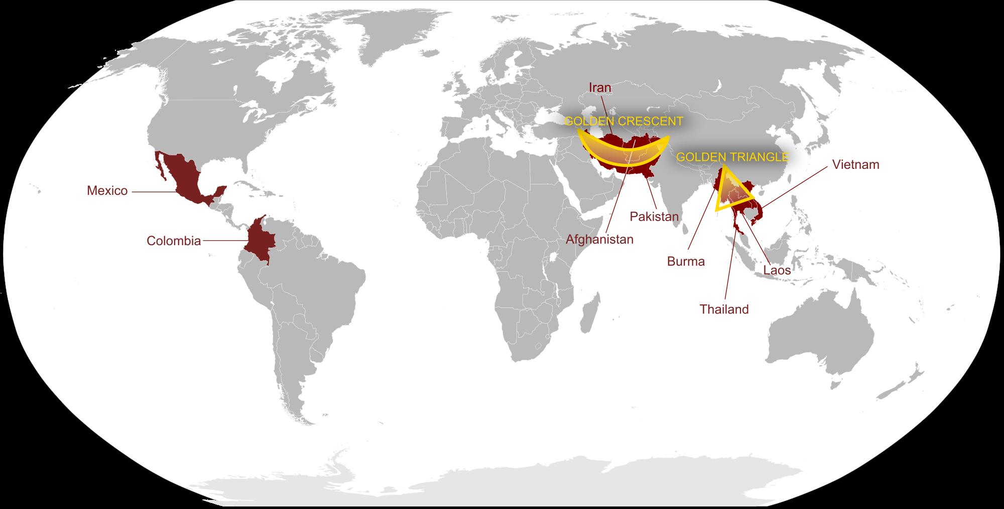 A világ kábítószer- termelésének három központja: Kolumbia, Aranyfélhold és Aranyháromszög (Mianmar-Laosz - Thaiföld).