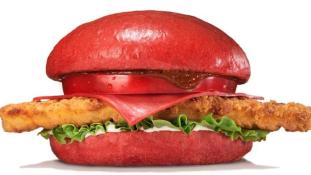 Piros hamburger a japán Burger Kingből