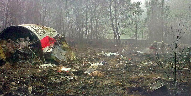 A Szmolenszknél lezuhant lengyel gép roncsai