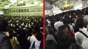 Ez történik, ha leáll a vonat a tokiói csúcsforgalomban – őrület