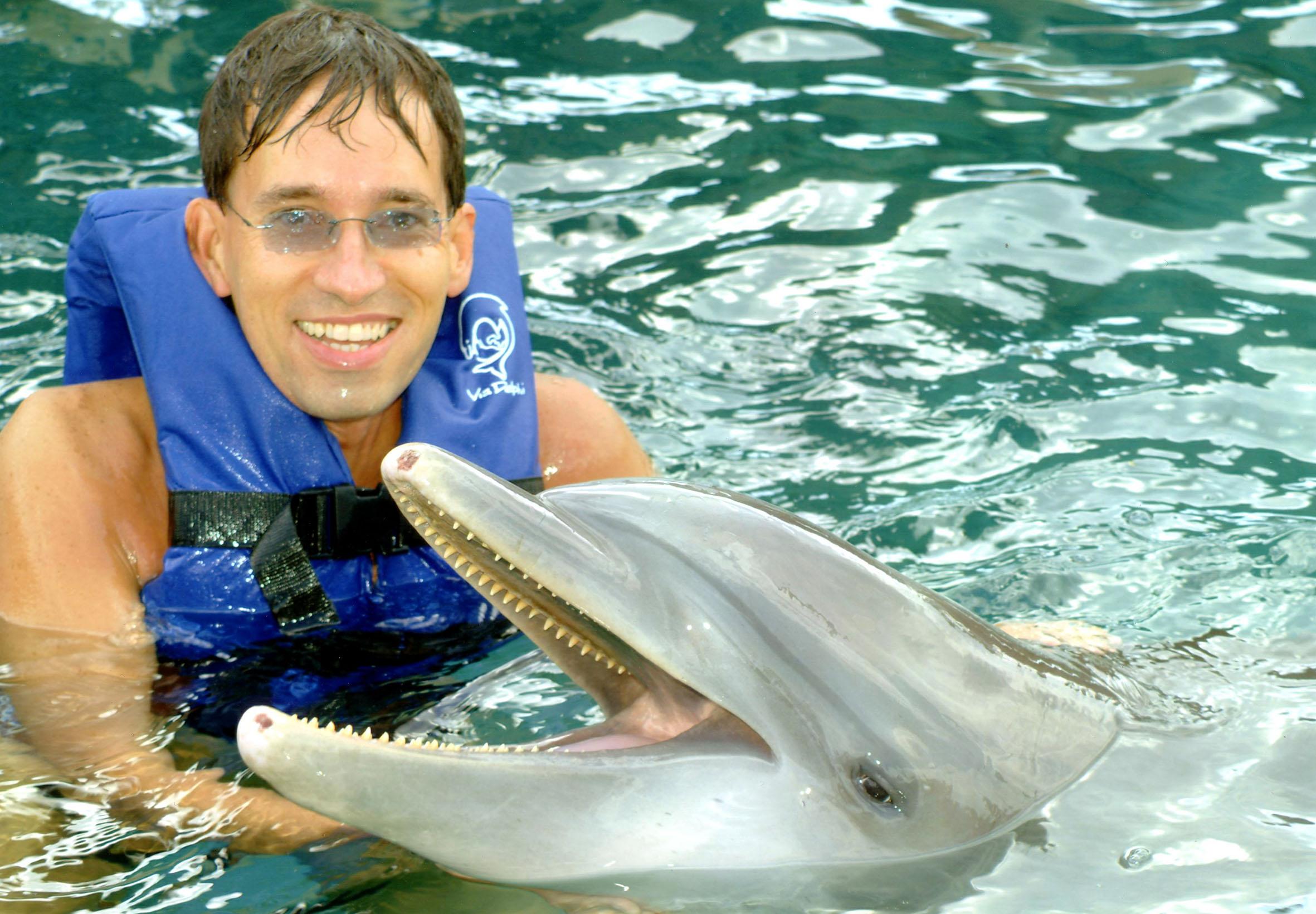 Delfinidomítás Mexikóban.