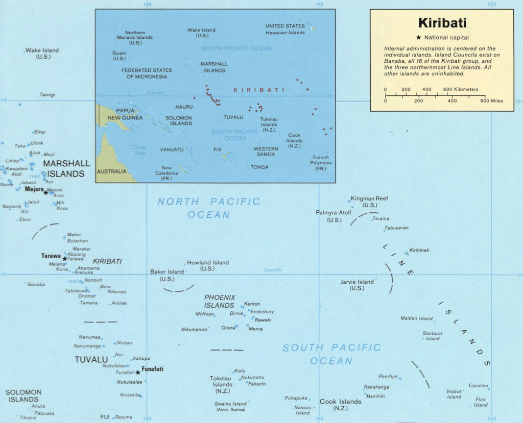 Kiribati a Csendes-óceán közepén (Wikimedia Commons)