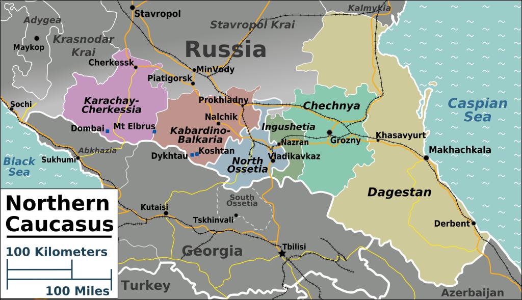 Észak-Kaukázus térképe (Wikimedia Commons)