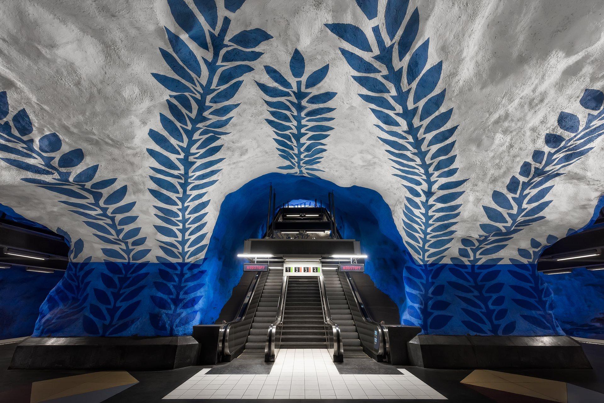A T-Centralen megállóban kék szőlőtőkék lepik el a plafont.