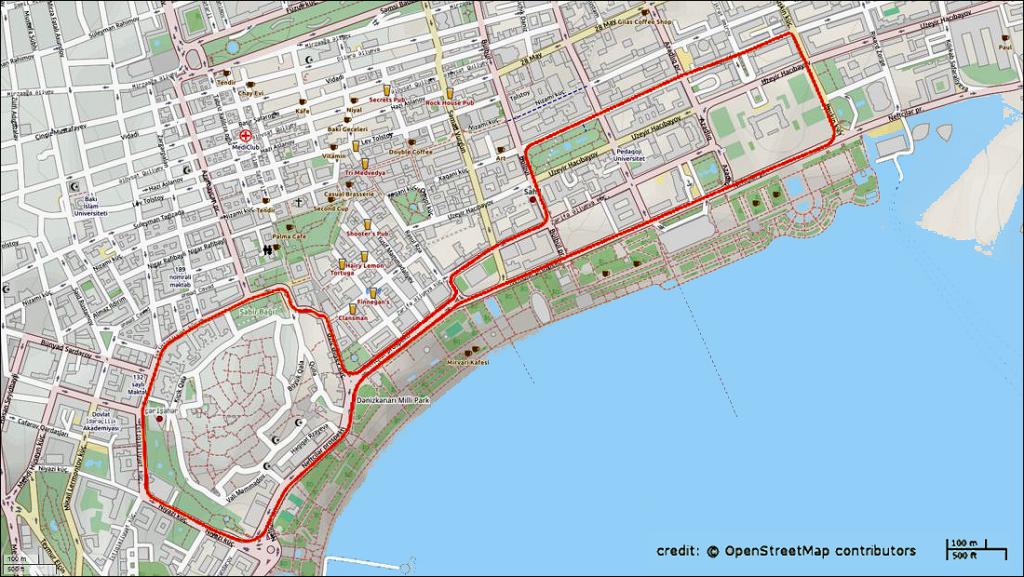 A bakui pálya térképe (Wikipedia)