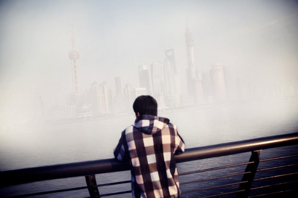 Kilátás Sanghaj üzleti negyedére.