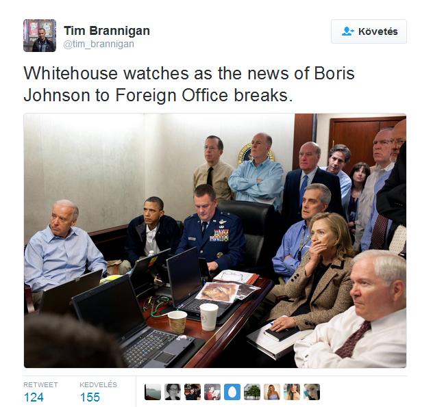 A Fehér Ház figyeli a híreket Boris Johnson külügyminiszteri kinevezéséről.