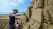 Homokszobrok a G20-csúcs tiszteletére Dél-Kínában