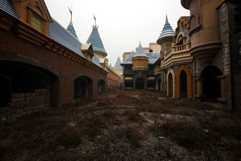 A view of abandoned buildings that were to be part of an amusement park called 'Wonderland', on the outskirts of Beijing