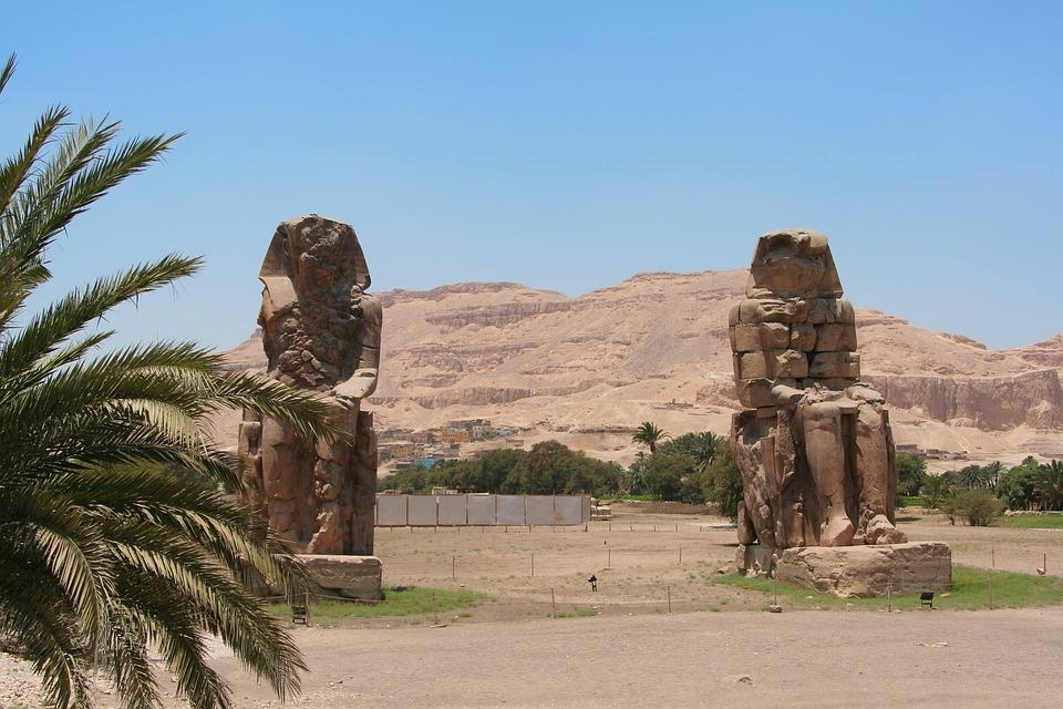 Statue 2 Pieces Luxor Phoenix Egypt Pharaoh